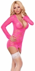 Neon Pink Lace Merry widow Chemise Set