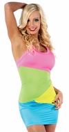 Neon Multicolor Dress, Neon Rainbow Halter Dress, Rave Dress