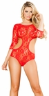 Open Back Lace Red Teddy