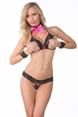 Open Cup Bra, Panty, Choker and Chain Cuffs, Erotic Lingerie