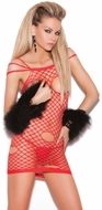 Open Cup Fishnet Chemise, Valentine's Lingerie, Christmas Lingerie, Red Fishnet Lingerie