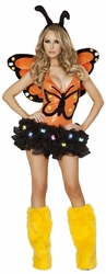 Monarch Butterfly Bodysuit and Headband, Orange Butterfly Romper, Halloween Butterfyl Costume