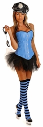 Pin Up Cop Costume, Sexy Cop Corset Outfit, Police Woman Halloween