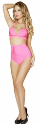 Banded Halter Top and Shorts Set, High Waisted Banded Shorts Set, Pink Banded Halter Top and High Waisted Short
