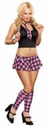 Pink School Girl Costume, Bedroom School Girl costume, Pink Plaid School Girl Bedroom Costume