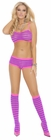 Pink Purple Striped Bra and Boyshort Set