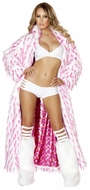 Rave Clothing, Women's Long Coats, Pink Spiked Fur White Long Coat