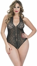 Plus Size Crotchless Lace Black Teddy With Rhinestones, PLus Size Black Teddy, Plus Size Teddy