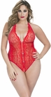 Plus Size Crotchless Red Teddy With Rhinestones