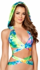 Printed Hooded Wrap Around Halter Top