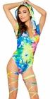 Printed Tie Dye Hooded Romper