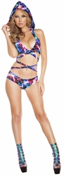 Electric Wrap Around Hooded Top And Shorts, Wrap Around Bikini Top with Hood, Hooded Bikini