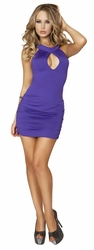 Purple Cutout Scrunched Mini Dress, Sexy Clubbing Dress, Purple Mini Dress