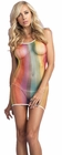 Rainbow Fishnet Mini Dress