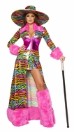 Adult Women Halloween Costume, Rainbow Mobster Temptress Costume