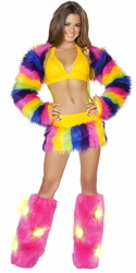 Rainbow Suspender Skirt and Halter Top, Rave Party Clothing, Neon Clothing, Carnival Clothing