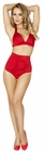 Red Banded Halter Top and High Waisted Short