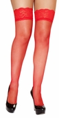 Red Fishnet Thigh High Stockings with Lace Trim