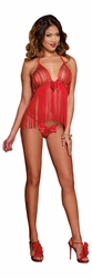 Red Fringe Baby Doll Set, Fringe Cami Set, Fringe Lingerie