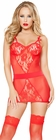 Red Lace Chemise and G String Set