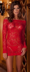Sheer Chemise Lingerie, Red Long Sleeve Chemise Bedroom Dress