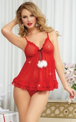 Red Sugar and Spice Babydoll, Ruffled Red Babydoll, Sexy Holiday Babydoll