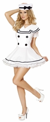 Sailor Maiden, Sexy Sailor Costume, Adult Sailor Halloween Costume, Navy White Sailor Dress
