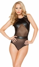 Faux Leather And Mesh Romper, Faux Leather Romper, Sexy Dancewear