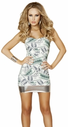 Dollar Bill Strapless Tube Dress, Strapless Party Dress, New Mini Dress