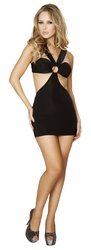 Strappy Black Mini Dress, Roma Costume 3133, Strappy Mini Dress with O Ring Detail