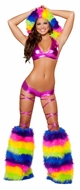 Rainbow Hooded Set, Ravewear, Women's Clubwear, Rave Clothing, Top and Shorts
