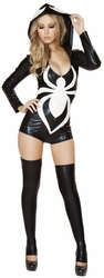 Web Spinner, Insext Halloween Costume, Hooded Web Spinner Romper, Black Hooded Romper