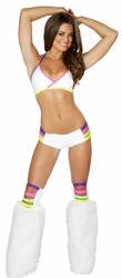 White  And Neon Halter Top and Shorts, Banded Halter Top and Shorts Set, Ravewear, J Valentine Ravewear