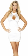 White Cutout Scrunched Mini Dress, Sexy Clubbing Dress, White Mini Dress