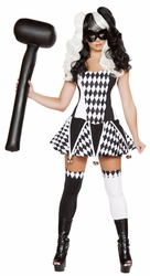 Wicked Jester Costume, Black and White Jester, Sexy jester Dress, Jester Costume 4673