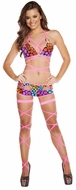 Ravewear, Electric Wrap Around Top And Shorts, Wrap Around Bikini Top