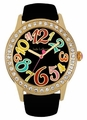 Black Band Colorful Numerals Watch Jade LeBaum JB202756G