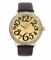 Jade LeBaum Womens JB202867G Black Leather Band Dress Watch