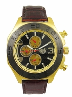 Kronwerk AQ202833G Brown Leather Band Gold Tone Mens Watch