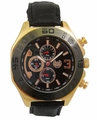 Kronwerk AQ202834G Black Leather Band Rose Gold Tone Case Mens Watch