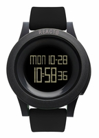 REACT! RA3035 LED Sport Unisex Black Silicone Band Mens Watch