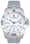 Swiss Mountaineer SM8020 Silver Tone Large White Dial Mens Watch