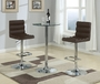 Coaster 3 Piece Glass Top Bar Table with Brown Bar Stools