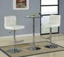 Coaster 3 Piece Glass Top Bar Table with White Bar Stools