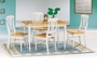 Coaster 5 Piece Damen Dining Room Set in White & Natural Finish