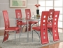 Coaster 5 Piece Dining Set with Glass Top Table & Red Chairs