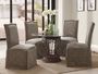 Coaster 5 Piece Glass Top Dining Set w/ Beige Parson Chairs