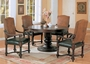 Coaster 5 Piece Harrelson Round Dining Room Set in Dark Walnut