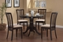 Coaster 5 Piece Round Dining Table Set in Cappuccino