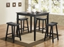 Coaster 5 Piece Yates Counter Height Pub Table Set in Black